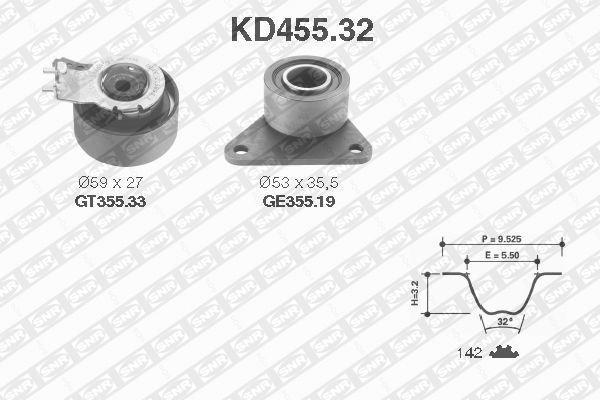 Ангренажен комплект SNR KD455.32 Volvo V40 S40 1995-2003
